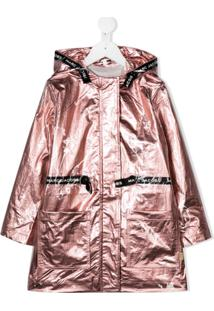 Little Marc Jacobs Laminated Hooded Parka Coat - Rosa