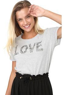 Camiseta Enfim Aplicaã§Ãµes Cinza - Cinza - Feminino - Algodã£O - Dafiti