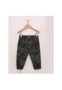 Calça De Sarja Infantil Jogger Estampada Camuflada Verde Militar