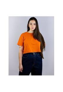 Camiseta Cropped Toneh Sem Barra Laranja Laranja