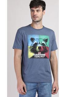 Camiseta Masculina Rocket Guardiões Da Galáxia Manga Curta Gola Careca Azul Marinho