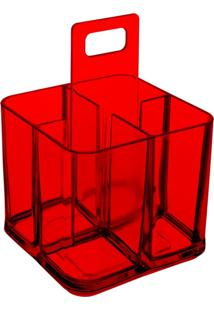 Porta Talheres Mod Vermelho Transparente Coza
