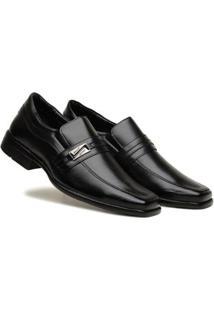 Sapato Social Masculino Elástico Liso Metal Leve Confortável - Masculino-Preto