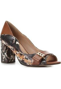Peep Toe Couro Shoestock Salto Médio Cobra - Feminino-Caramelo