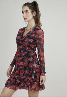Vestido Feminino Curto Transpassado Em Tule Estampado Floral Manga Longa Preto