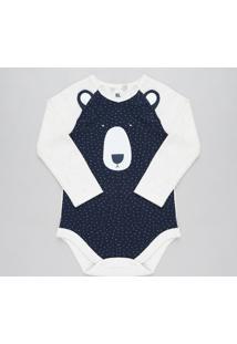 Body Infantil Urso Com Orelhas Manga Longa Decote Redondo Bege Claro