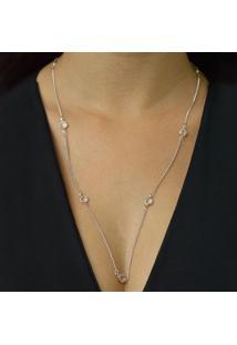 Colar Comprido Tiffany Com Zircônias Cristal Banhado Em Ródio