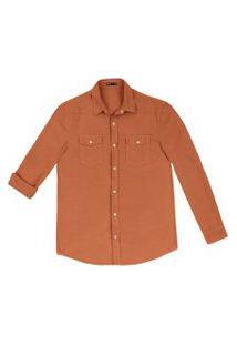 Camisa Hering Sarja Regular Com Bolsos Laranja