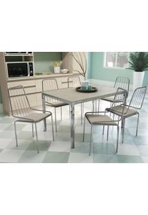 Conjunto Mesa Shire C/ 6 Cadeiras Benim Cromado/Linho Marrom Kappesberg - Tricae