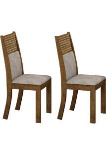 Conjunto Com 2 Cadeiras Havaí Ipê E Pena Palha