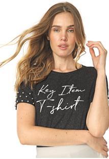 Camiseta Lunender Glitter Tachas Preta
