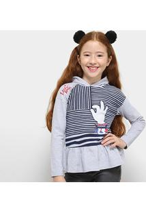 Camiseta Infantil Lilica Ripilica Manga Longa Feminina - Feminino-Cinza