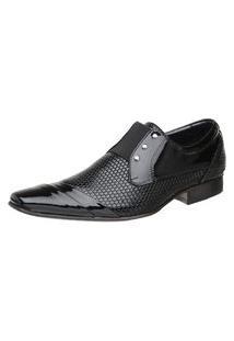 Sapato Malbork Em Couro Verniz Com Elástico Preto 378 Preto