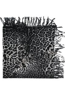 Saint Laurent Cachecol Animal Print - Preto