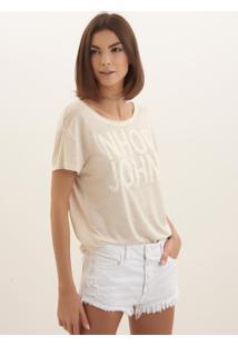 Camiseta John John Linen Malha Bege Feminina (Bege Claro, M)