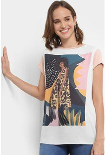 Camiseta Carmim Margarida Feminina - Feminino-Rosa