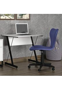 Mesa Para Computador Zeta Siena Móveis Branco/Preto