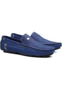 Mocassim Clique Shoes Dockside Em Couro Masculino - Masculino-Azul