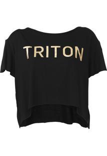 Camiseta Cropped Triton Logo Metalizado Preta