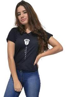 Camiseta Gola V Cellos Rose Premium Feminina - Feminino-Preto