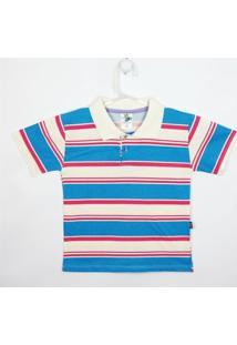 Camiseta Infantil Lucyval Manga Curta - Masculino-Azul+Rosa