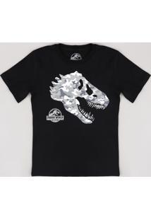 Camiseta Infantil Jurassic World Manga Curta Preta