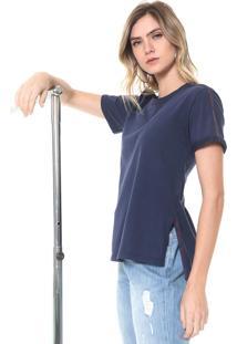 Camiseta Morena Rosa Faixas Azul-Marinho