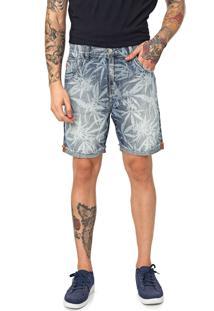 Bermuda Jeans Ellus Reta Folhagem Azul