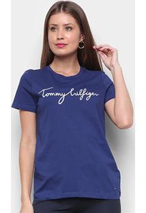 Camiseta Tommy Hilfiger Crew Neck Graphic Tee Feminina - Feminino-Azul