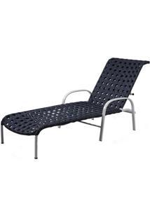 Espreguicadeira Napa Estrutura Aluminio Revestido Em Fibra Sintetica Cor Azul Marinho - 44580 Sun House