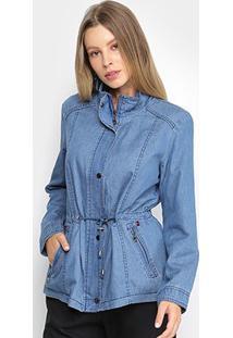 Jaqueta Jeans Facinelli Cordão Feminina - Feminino-Azul Claro