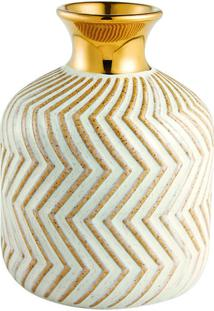 Vaso Em Cerâmica Decorativo Geométrico- Dourado & Brancomart
