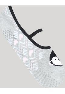 Meia Feminina Sapatilha Com Estampa De Pinguim Cinza Mescla - Único