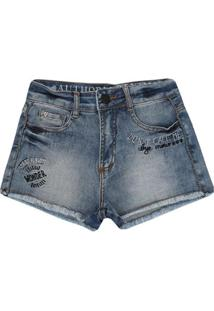 Short Infantil Authoria Denim Bordado Feminino - Feminino-Azul