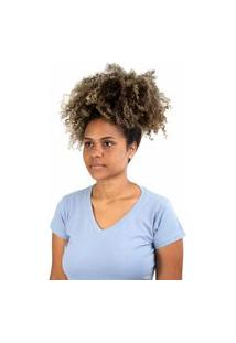 Camiseta Meio Swag Básica Gola V Azul Claro