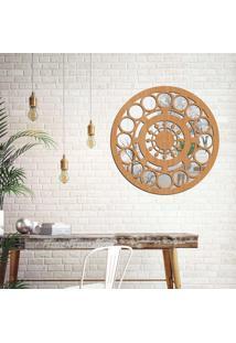 Escultura De Parede Wevans Mandala Circulos, Madeira + Espelho Decorativo