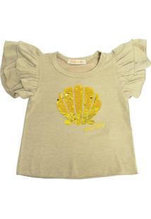 Camiseta Gira Baby Kids Infantil Bordado Concha Bege