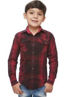 Camisa Manga Longa Infantil Zaiko Xadrez Masculina - Masculino-Vermelho