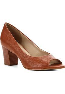 Peep Toe Couro Shoestock Salto Médio - Feminino-Caramelo