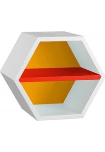 Nicho Hexagonal 1 Prateleira Favo Maxima Branco/Amarelo/Vermelho
