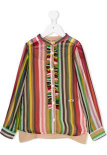 Nº21 Kids Camisa De Seda Listrada Com Babado - Estampado