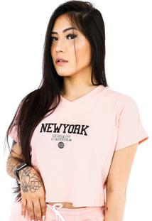 Camiseta Cropped Prison New York Track Salmon Feminina