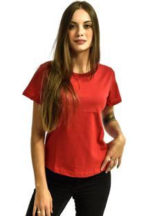 Camiseta Rich Young Baby Look Básica Lisa Malha Vermelha