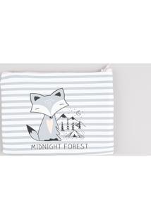 """Nécessaire Feminina Listrada """"Midnight Forest"""" Branca"""