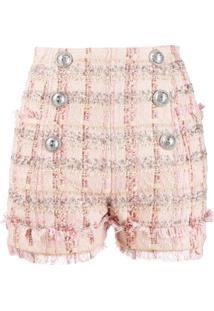 Balmain Shorts Com Abotoamento Duplo - Rosa