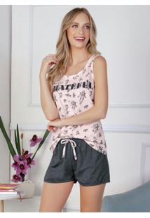 Pijama Regata Floral Rosa E Mescla