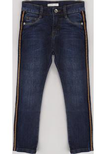 Calça Jeans Infantil Skinny Com Faixa Lateral Azul Escuro