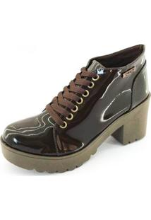 Bota Quality Shoes Tratorada Verniz Feminina - Feminino-Marrom Escuro