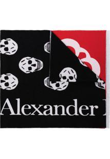 Alexander Mcqueen Cachecol De Lã Com Logo E Patchwork - Preto