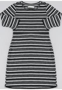 Vestido Infantil Listrado Curto Manga Longa Preto